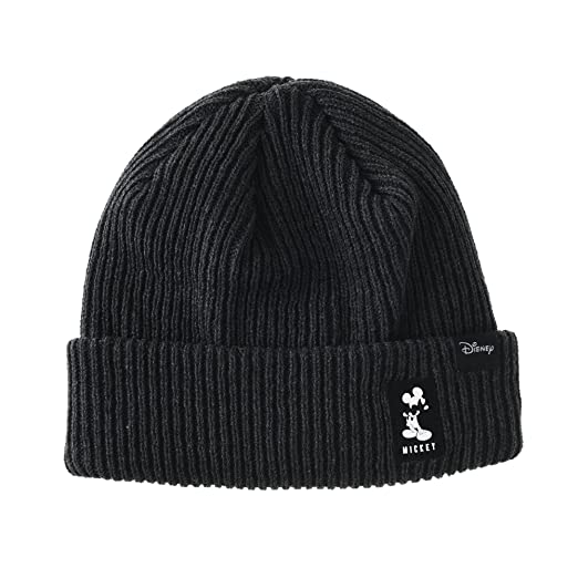 8f67fc01bb5 WITHMOONS Disney Mickey Mouse Ribbed Beanie Hat Slouchy CR5853 (Charcoal)