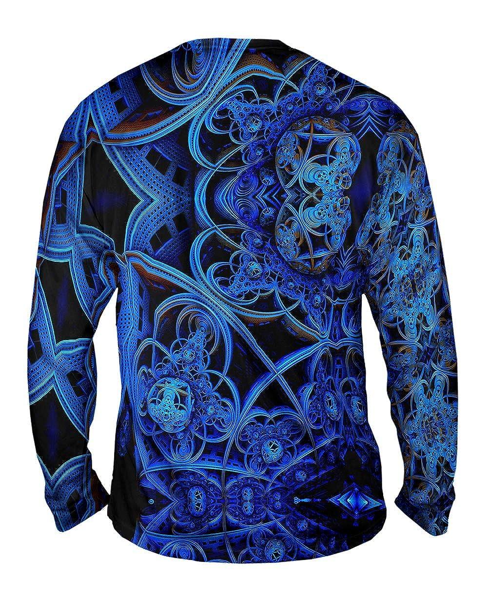 Mens Long Sleeve 3D Blue Fractal City Yizzam Tshirt