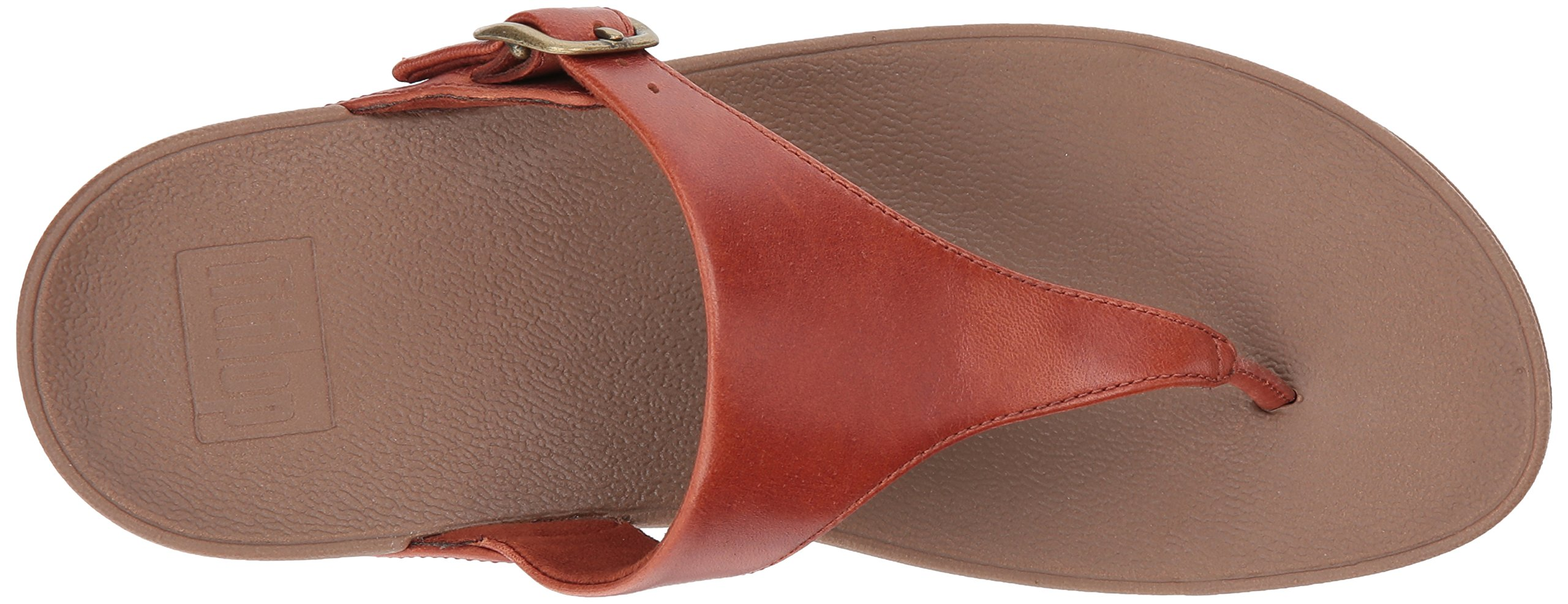 FitFlop Women's The Skinny Leather Toe-Thong Sandal, Dark Tan, 10 M US by FitFlop (Image #8)