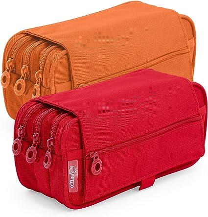 Pack 2 Portatodo Triples de Amplios Apartados Interiores con Cierre de Cremallera Individual, Estuche Multiuso para Material Escolar. Colores Naranja y Rojo: Amazon.es: Oficina y papelería