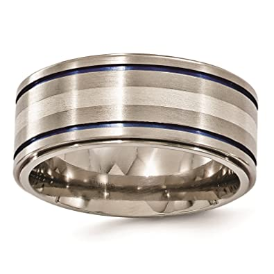 Bridal & Wedding Party Jewelry Titanium 925 Sterling Silver Inlay 8mm Brushed Wedding Ring Band Size 11.50 Easy And Simple To Handle Engagement & Wedding