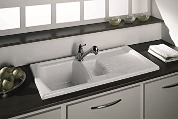 luna ceramic 15 bowl and drainer kitchen sink cream reversible inc waste kit - Kitchen Sink Uk