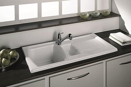 Luna ceramic 15 bowl and drainer kitchen sink cream reversible luna ceramic 15 bowl and drainer kitchen sink cream reversible inc waste kit workwithnaturefo