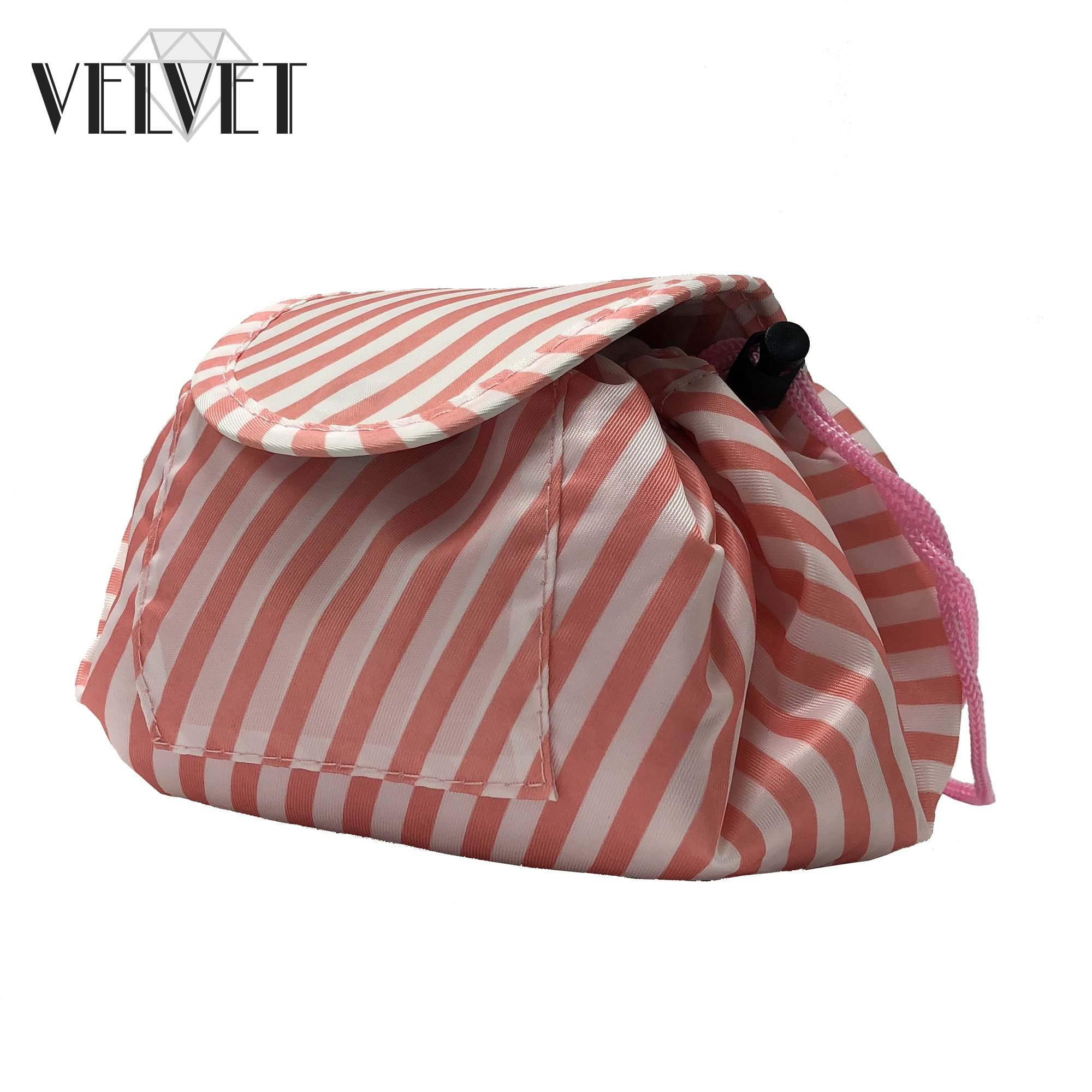 Toiletry Travel Bag   Lazy Drawstring Makeup Organizer with Magnetic Snap   Waterproof Cosmetic Pouch for Women, Men, Girls (Large 18 inches, White/Pink Stripes) by VelvetBags (Image #4)