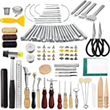 JOYPEA Leather Working Tools 195 PCS Leather Craft Stamping Tools with Cutting Mat Snaps and Rivets Kit Stitching…
