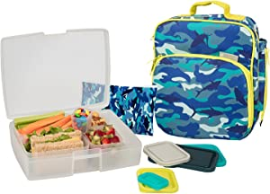 Bentology Lunch Bag and Box Set for Boys, 9 Pieces Total - Kids Insulated Lunchbox Tote, Bento Box, 5 Containers and Ice Pack - Shark Camo