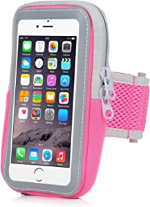 Yostyle Sports Running Armband Sweatproof Running Armbag Gym Workout Cell Phone Case with Key Holder Wallet Card Slot for iPhone Xs Max XR X 8 7 6 6s Plus Galaxy S10 S9+ S9 S8 S7 S6 Edge