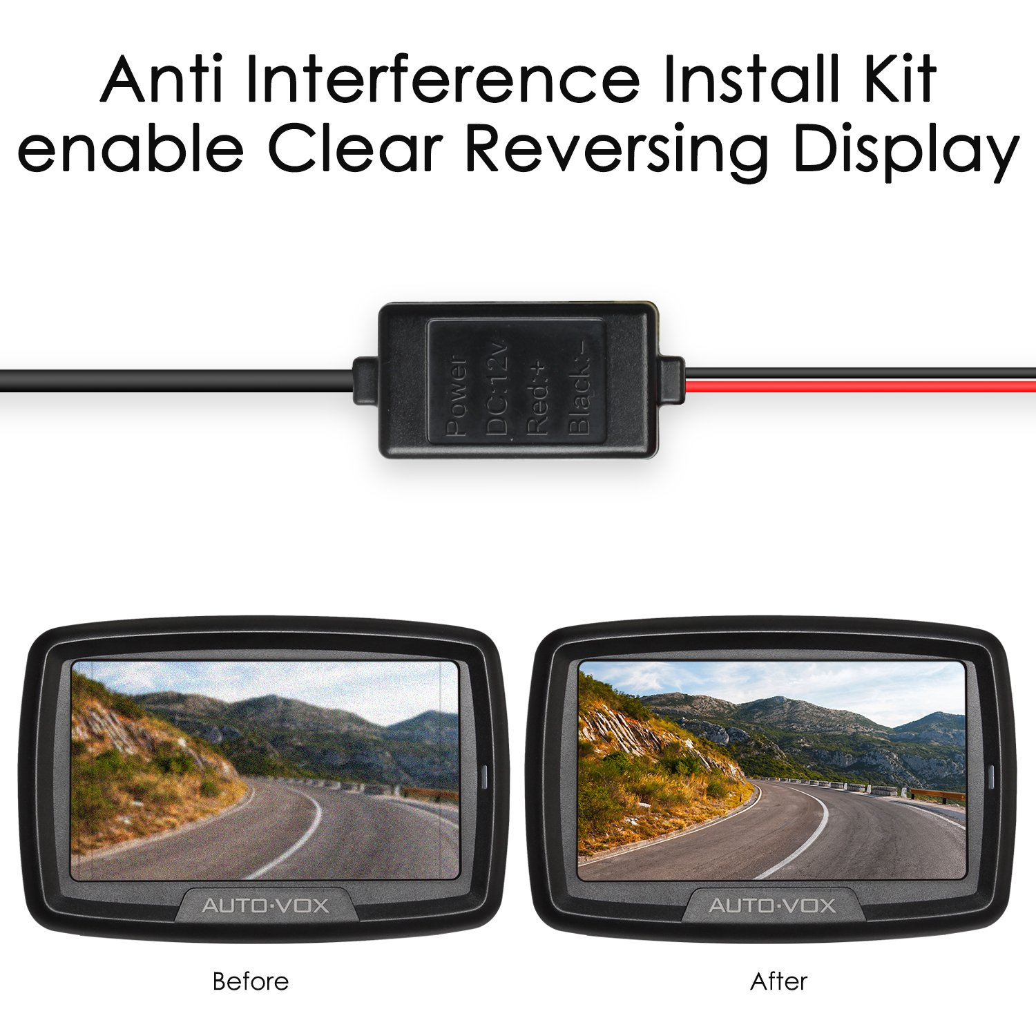 AUTO-VOX Backup Camera Anti Interference Install Kit Parking Camera 12V DC  Power Adapter Filter Rectifier for VW Dodge Audi BMW Benz -4 26ft