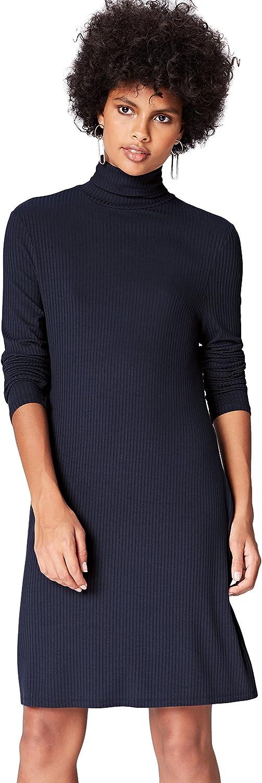 TALLA 48 (Talla del fabricante: XXX-Large). Marca Amazon - find. Vestido de Canalé con Cuello Alto para Mujer Blau (Blue) 48 (Talla del fabricante: XXX-Large)