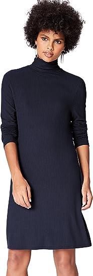 TALLA 40 (Talla del Fabricante: Medium). Marca Amazon - find. Vestido de Canalé con Cuello Alto para Mujer Blau (Blue) 40 (Talla del fabricante: Medium)