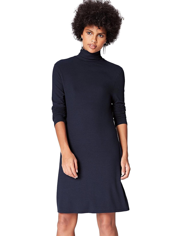 TALLA 48 (Talla del fabricante: XXX-Large). find. Vestido de Canalé con Cuello Alto para Mujer Blau (Blue) 48 (Talla del fabricante: XXX-Large)