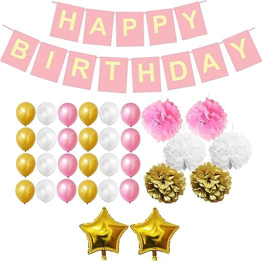 Belle Vous 33 Pcs Decoración Cumpleaños Set - Fuentes del Partido Para el Cumpleaños - Happy Birthday Pancarta, Globos Látex, Pompones de Papel, ...
