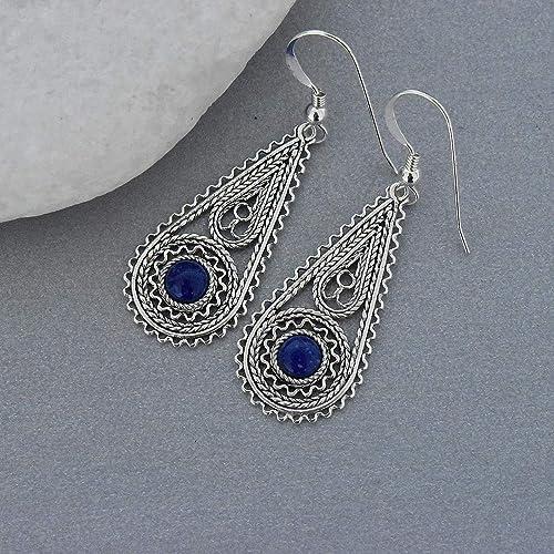 d6cf31384 Amazon.com: Sterling silver lapis lazuli earrings, Filigree earrings,  Yemenite earrings, Drop earrings, Gift for her, Israeli jewelry: Handmade