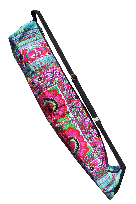 Black Pink #B 29 inch length RaanPahMuang Bright Embroidered Hand Made Birds Flowers Yoga Mat Bag