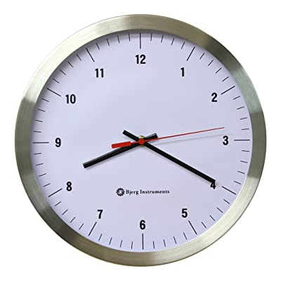 "Bjerg Instruments Modern 12"" Stainless Silent Wall Clock White Face"