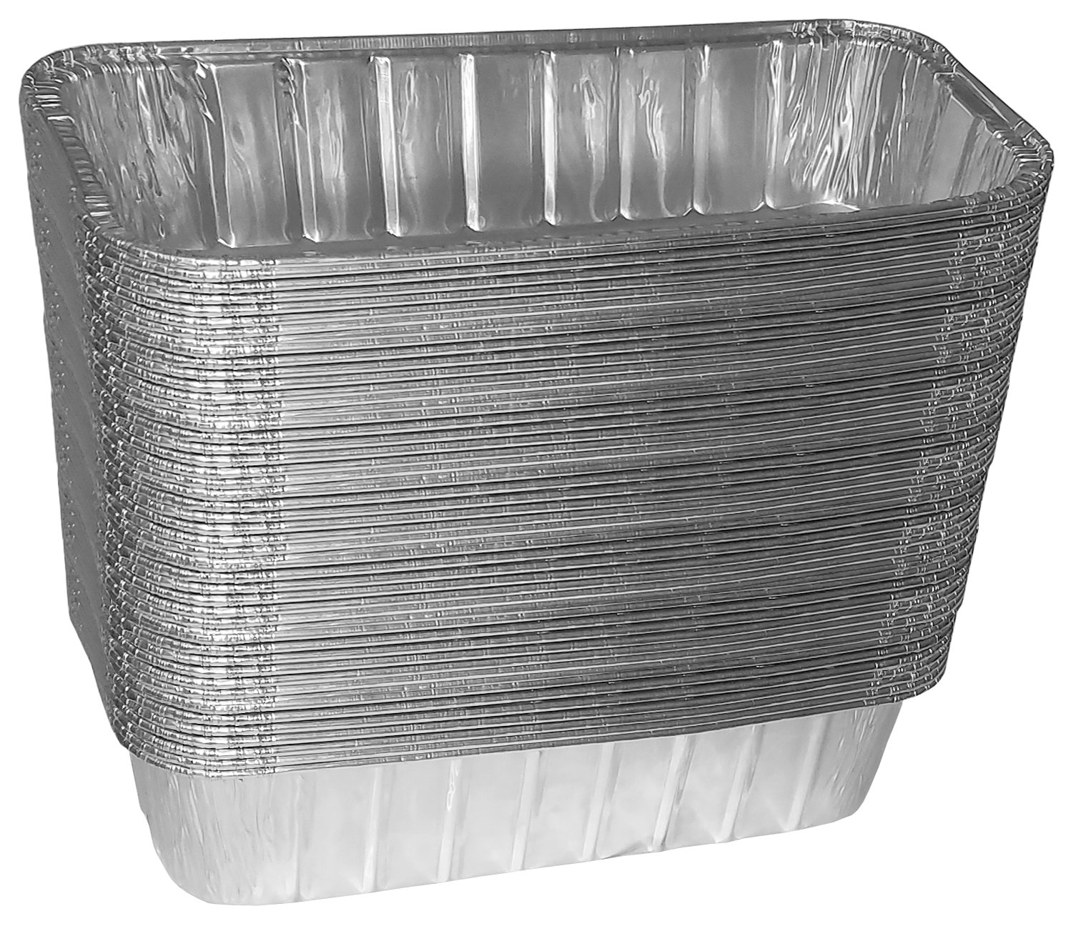 TYH Supplies 50 Disposable 9-3/4 x 3-3/4 inch BBQ Drip Pan Tray Aluminum Foil Tin Liners Grease Catch Pans Replacement Liner Trays For Weber Grill