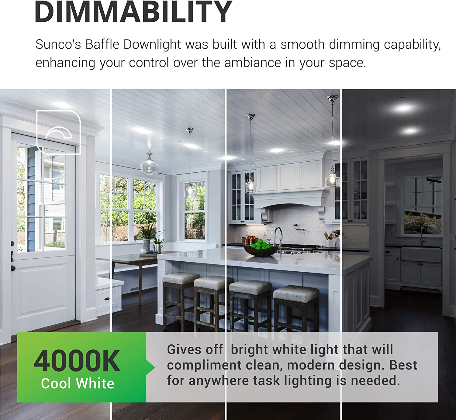 Waterproof Baffle Trim 1050 LM 5000K Daylight Dimmable UL Simple Retrofit Installation Energy Star 13W=75W Sunco Lighting 12 Pack 5//6 Inch LED Recessed Downlight