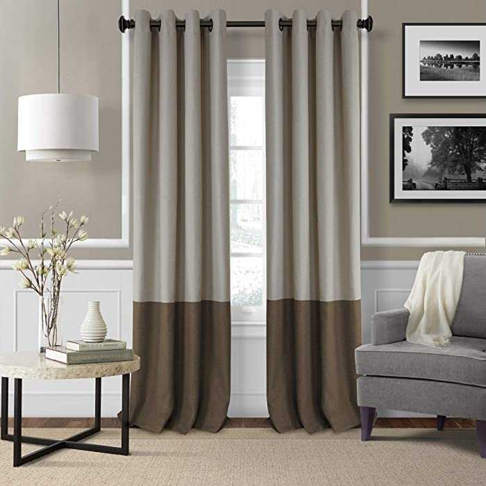 "Elrene Home Fashions 26865874655 Braiden Room Darkening Grommet Window Curtain Drape Panel, 52"" x 84"", Chocolate, 1"