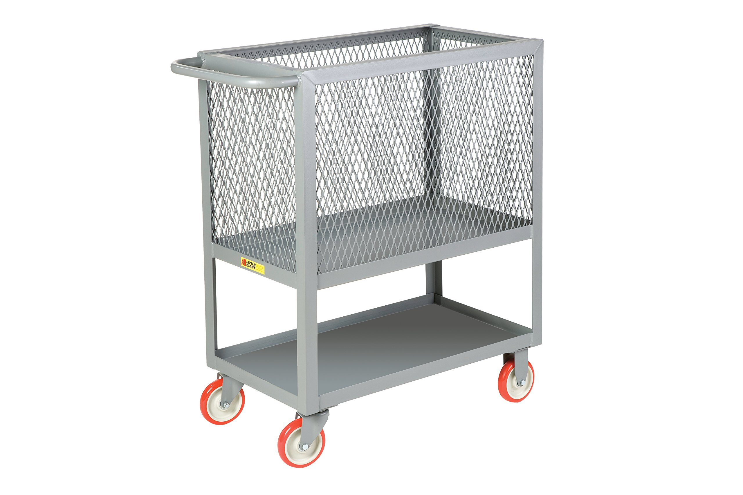 Little Giant 2RP4X-2448-5PY Raised Platform Box Trucks with Lower Shelf, 4 Mesh Sides, 1200 lb. Capacity, 5'' Polyurethane, 53.5'' Length, 24'' Width, 40'' Height