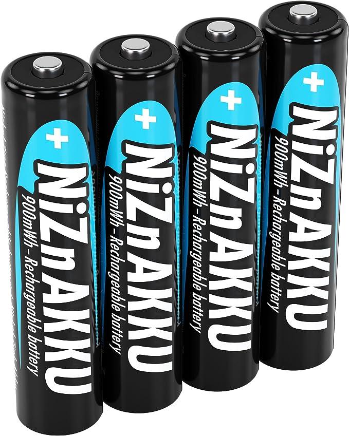 ANSMANN Micro NiZn Baterías AAA, 1,6V, 900mWh, 4 Pilas Recargables: Amazon.es: Electrónica
