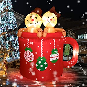 6FT Christmas Inflatable Cup with Gingerbread Man - Cute Fun Holiday Blow up Party Decorations for Indoor Outdoor Yard Lawn Garden Photo Prop with LED Lights