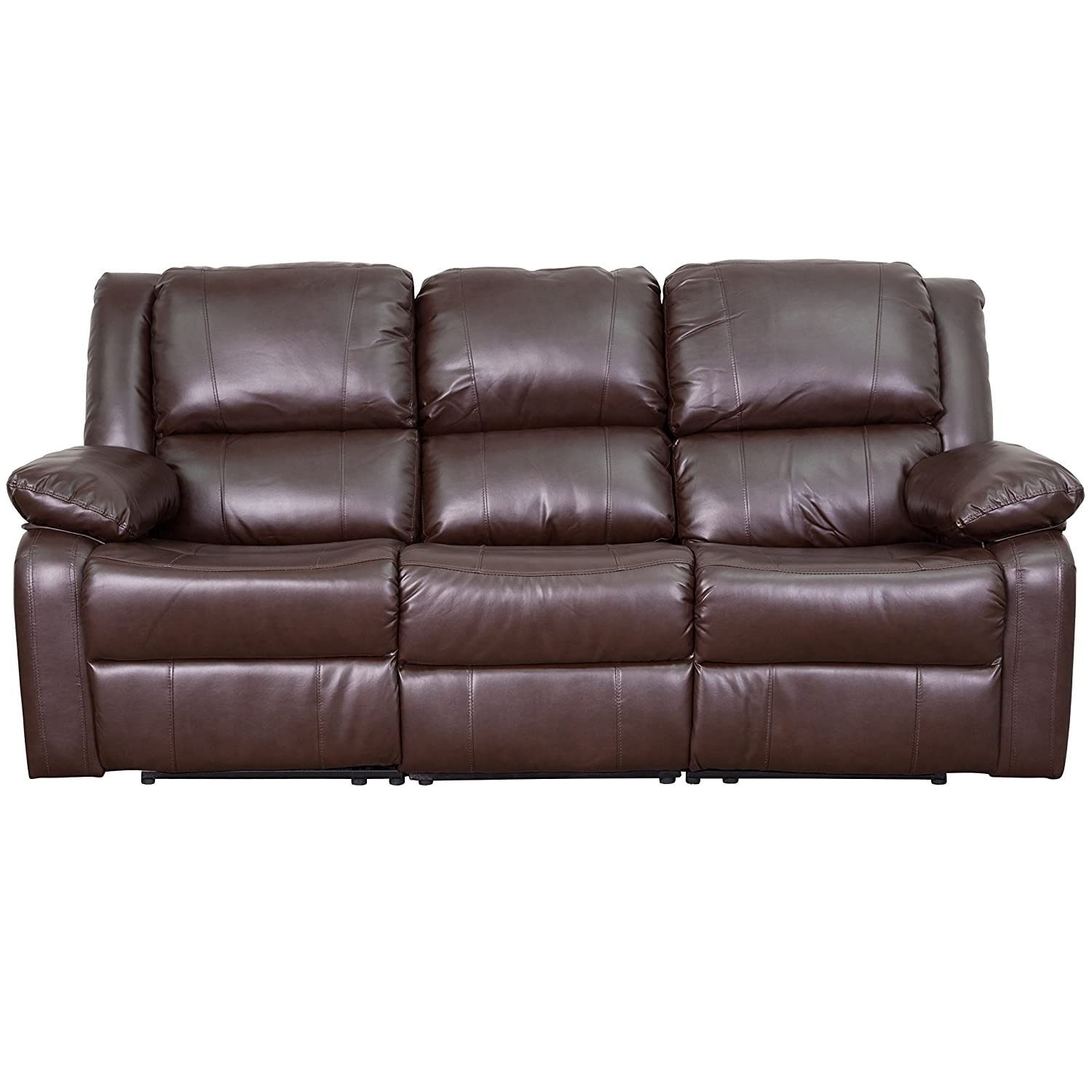 Amazon.com: Flash Furniture Harmony Series Brown Leather Sofa With Two  Built In Recliners: Kitchen U0026 Dining