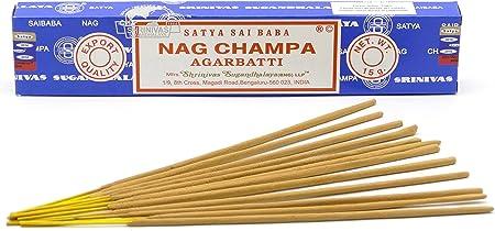 Satya Nag Champa - Varitas de incienso (15 g), 1 pack=12 sticks ...