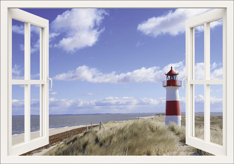 Artland Qualitätsbilder I Bild auf Leinwand Leinwandbilder Wandbilder 100 x 70 cm Landschaften Fensterblick Foto Weiß A8MS Fensterblick Leuchtturm Sylt