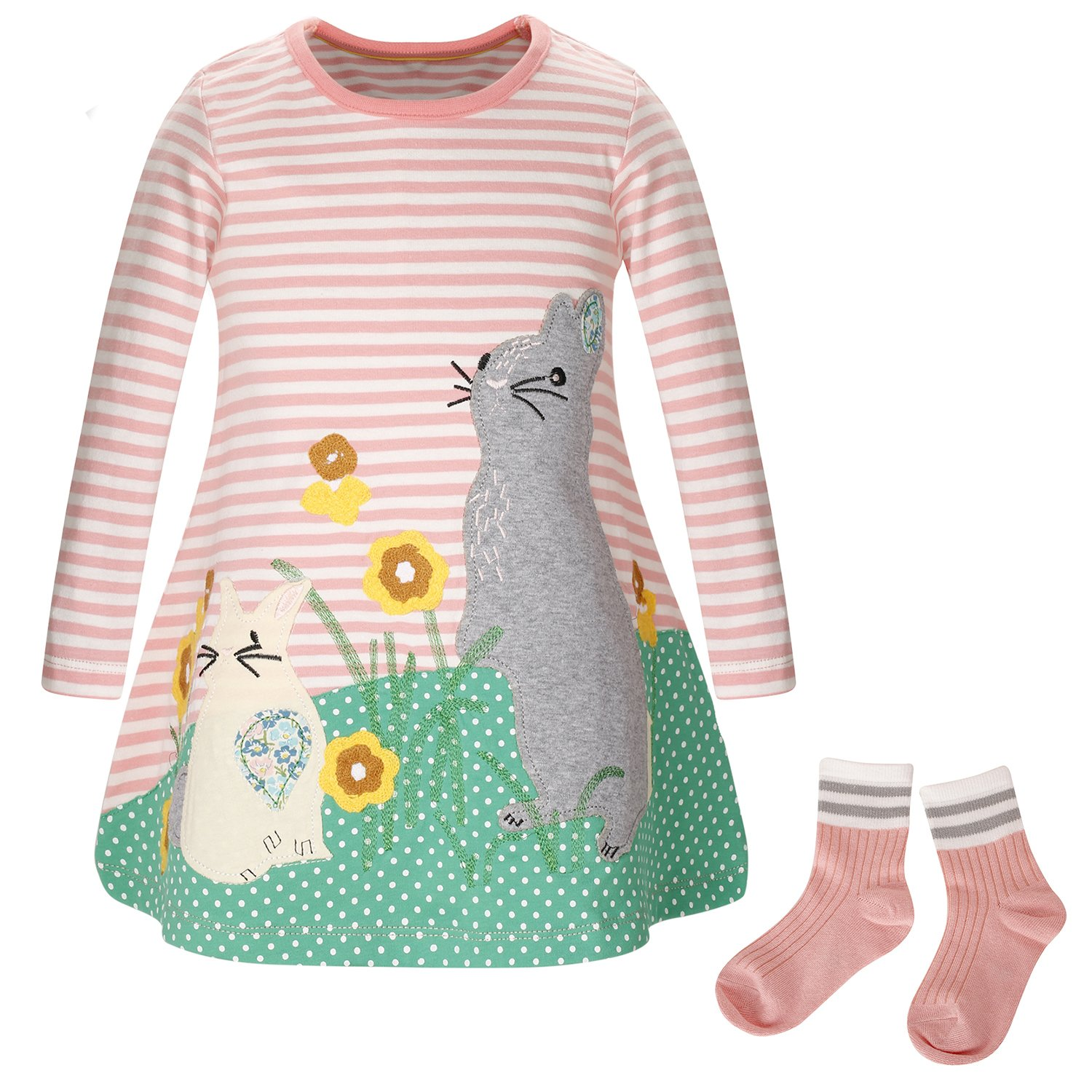 ZOEREA Baby Girl Cotton Dress Long Sleeve Printed Pattern Dress with Socks 5T/4-5 Years