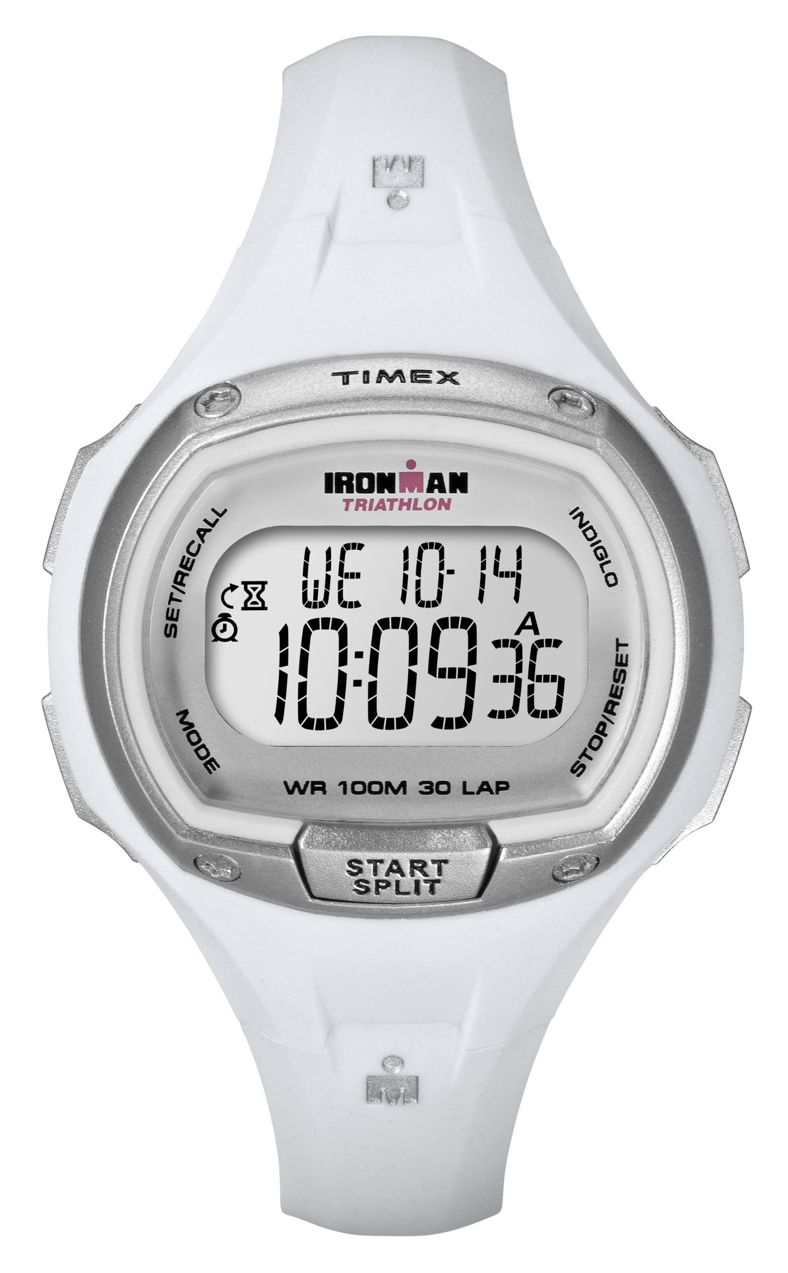 Timex Women's T5K183 Ironman Traditional 30-Lap White Resin Strap Watch by Timex