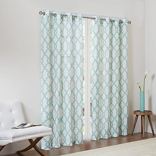 Amazon Com Madison Park Mp40 2758 Living Room Contemporary Grommet Bedroom Bond Print Modern Linen Window Curtains 50x63 1 Panel Pack Aqua Beige Home Kitchen