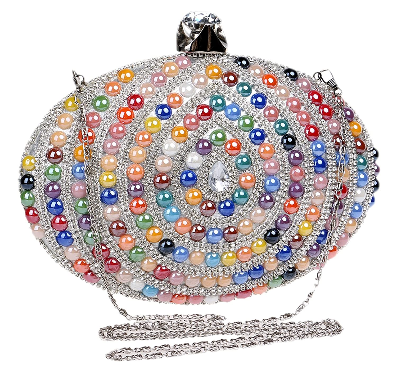 Santimon Women Clutches Glitter Rhinestones Beads Evening Prom Handbags Purses With Strap
