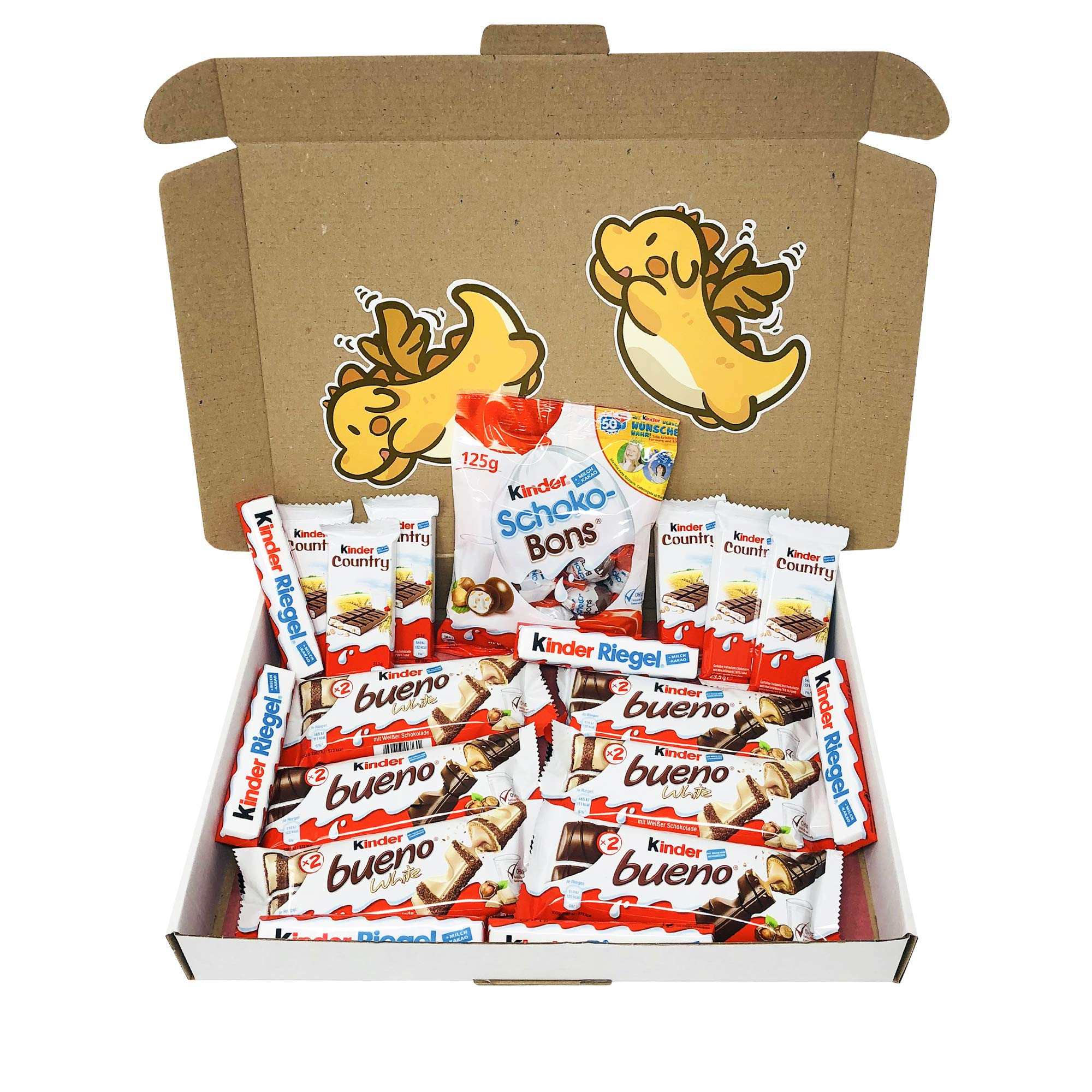 Ferrero Kinder Assorted Chocolates Gift Box (19-Pack) Classic German Candy | Bueno, Bueno White, Riegel, Country, and Schoko-Bons | Personal Packs or Halloween Shareables by KMA Imports / Kinder Schokolade
