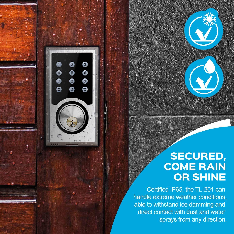 TURBOLOCK TL-201 Electronic Keypad Deadbolt Keyless Entry Door Lock w/Code Disguise, 21 Programmable Codes, 1-Touch Locking + 3 Backup Keys, Bronze by TURBOLOCK (Image #4)