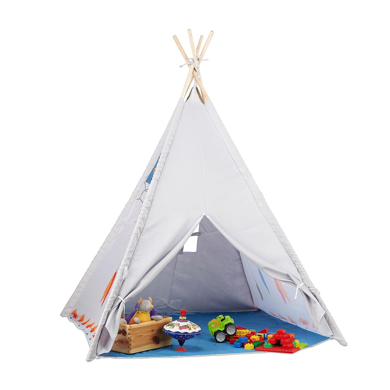 Relaxdays - Jeu pour Enfants Tipi intérieur extérieur Tente Indiens, 10022461, Gris