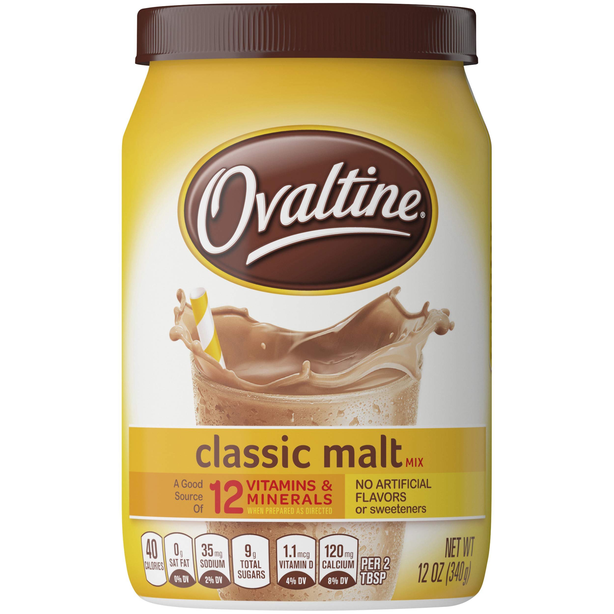 Nestle Ovaltine Classic Malt Beverage, 12 Ounce Canisters, Pack of 6