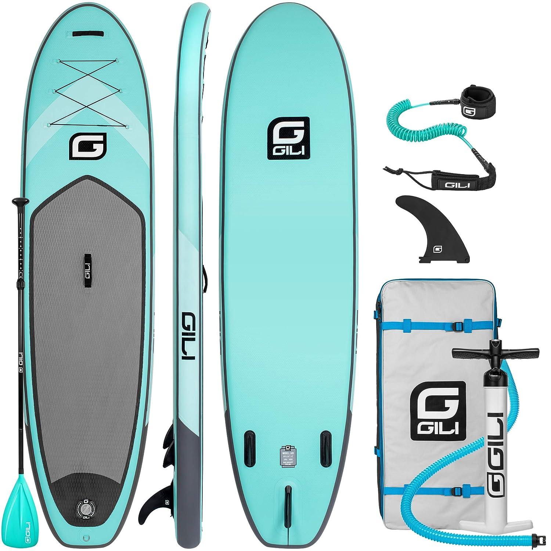 Gili 10フィート6 インフレータブルスタンドアップパドルボードパッケージ 長さ10フィート6インチ 幅31インチ 厚さ6インチ パドル バックパック SUPコイルリーシュ&ポンプ付き B07GK3DVS4 ティール