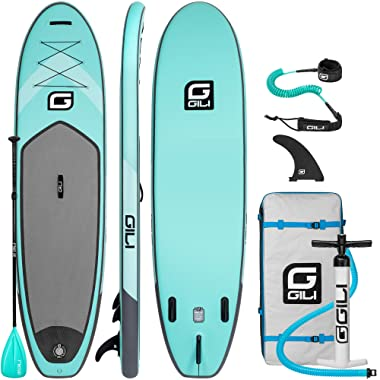 GILI 10'6 Inflatable Stand Up Paddle Board Package (10'6  Long 31  Wide 6  Thick): Includes Paddle, Backpack, SUP Coiled Leash & Pump