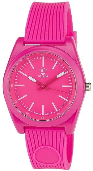 BELLOS -Reloj Mujer Rosa Cuarzo Caja de Acero pantalla analógica Pulsera Silicona Rosa