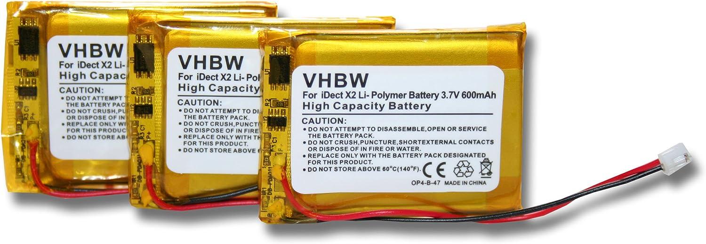 Set x 3 vhbw baterías 500mAh para teléfono Fijo inalámbrico iDect X2, X2d, X2i, X2di, M1, M2 por MT LP053040, CP75