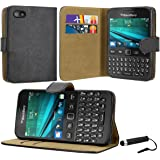 Case Collection® Premium Quality Leather Book Style Wallet Flip Case Cover With Credit Card & Money Slots For Blackberry 9720