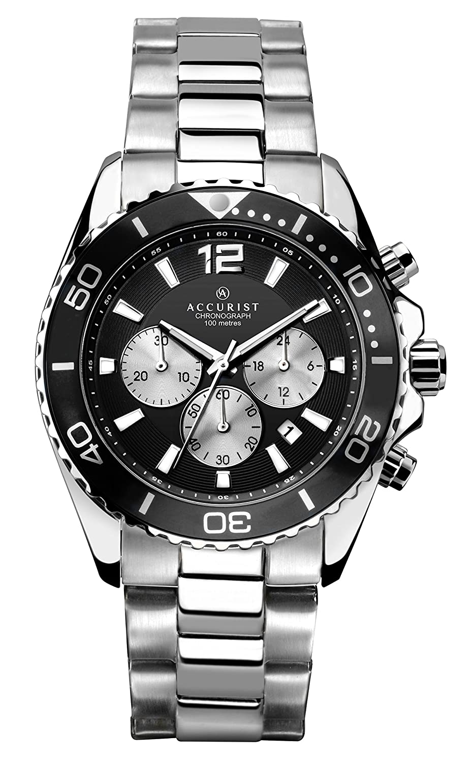 8d9288025 Accurist Men's Quartz Watch with Black Dial Chronograph Display and Silver  Stainless Steel Bracelet 7117: Amazon.co.uk: Watches