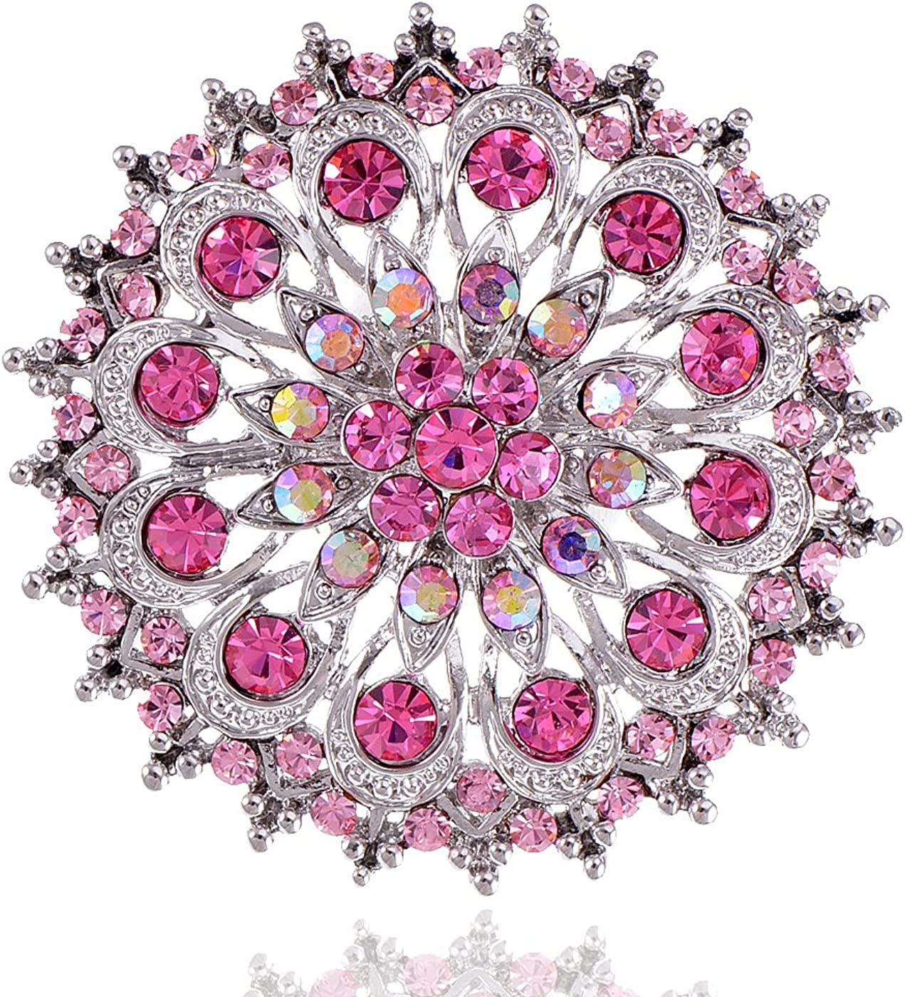 Alilang Adustable Silver Blue Purple Iridescent Crystal Rhinestones Snowflake Flower Floral Ring