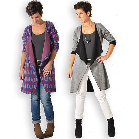 leni pepunkt Schnittmuster Cardigan Strickjacke Damen mit Nähanleitung in den Größen XS XXXL zum Nähen mit Kurzanleitung und 5 Webetiketten