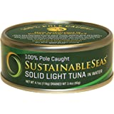 Sustainable Seas Solid Light Tuna in Spring Water, 4.1 Ounce (Pack of 12)