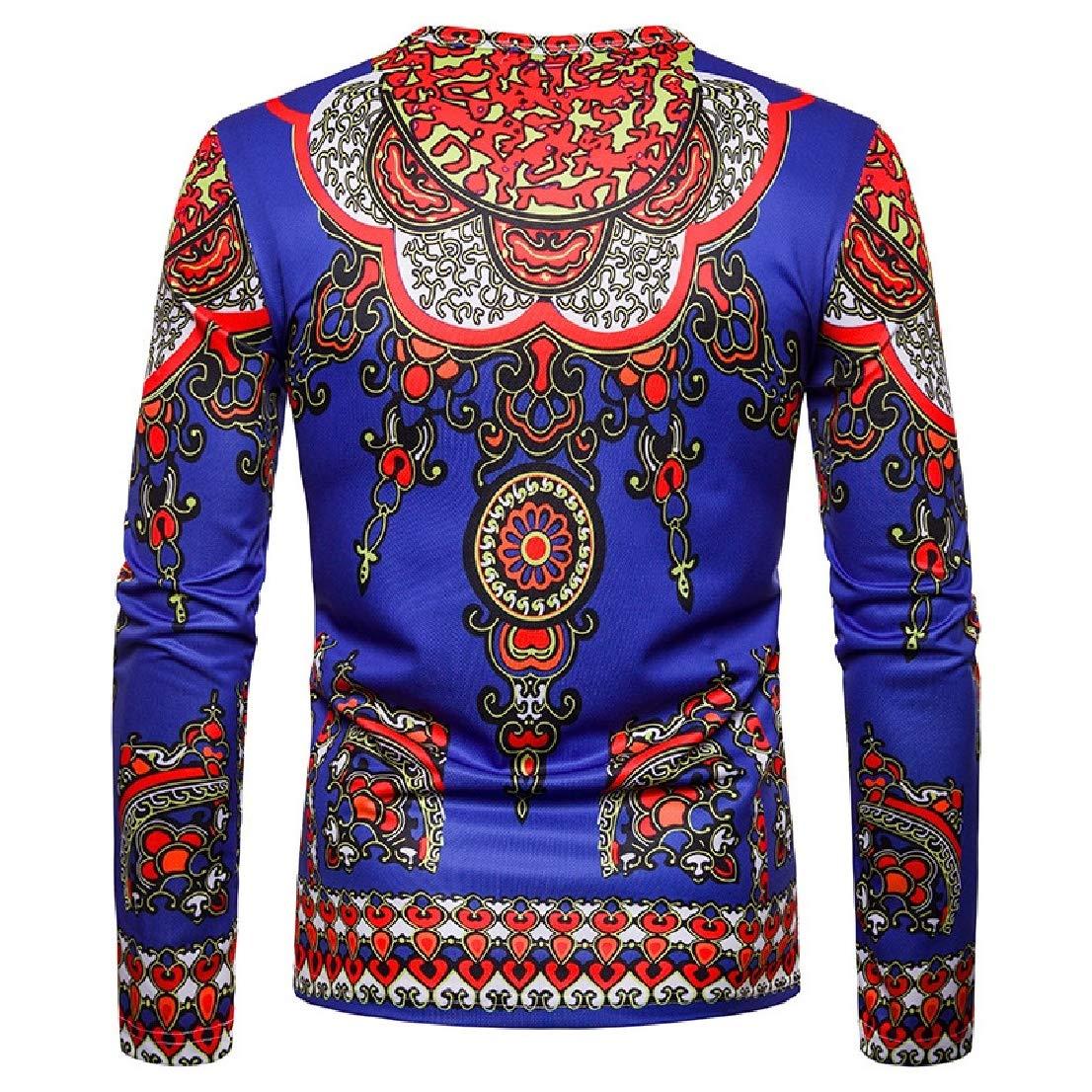 BAYYMen Autumn O-Neck Long Sleeve Navajo Floral Pullover Tees Top
