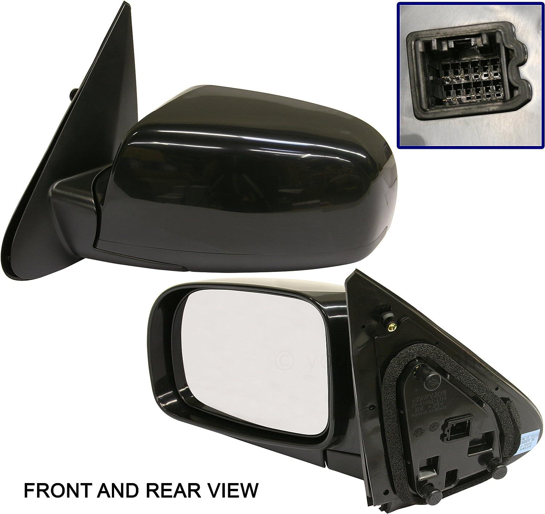 Textured Black Manual Door Mirror Left LH Driver Side for 07-10 Jeep Wrangler
