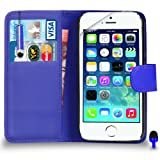 Apple iPhone 5 / 5S - Premium Leather BLUE Wallet Flip Case Cover Pouch with Mini Touch Stylus Pen BLUE Dust Stopper Screen Protector & Polishing Cloth, (WALLET BLUE)