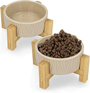 Navaris Ceramic Elevated Cat Bowls - Raised Food and Water Bowl Set for Cats and Small Dogs with Wood Stands - Eco Friendly Pet Bowls