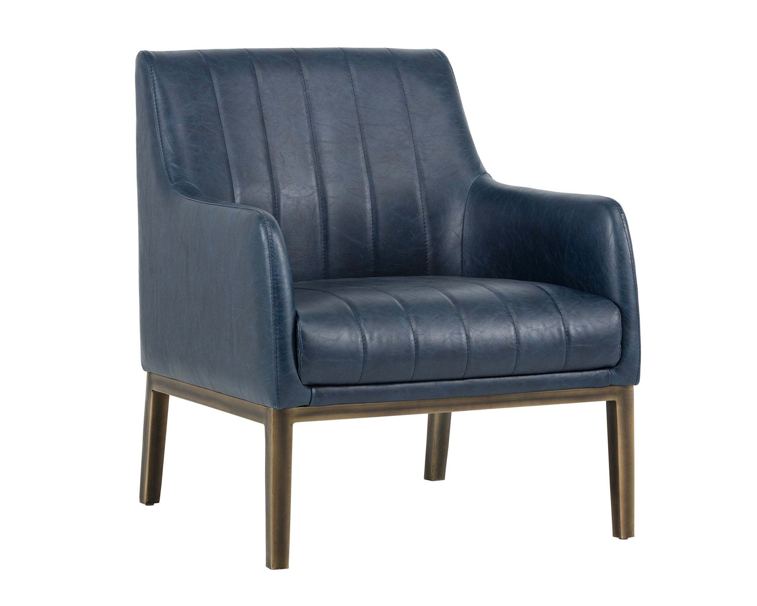 Sunpan Modern Sunpan Wolfe Lounge Rustic Bronze-Vintage Blue Chair Blue Blue by Sunpan Modern